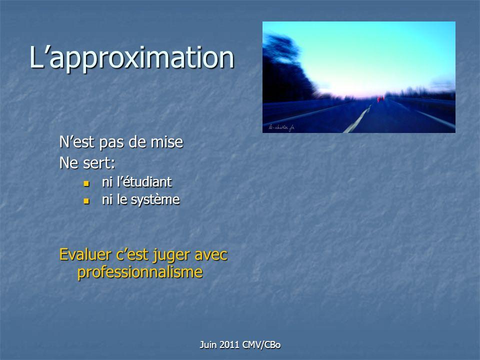 Juin 2011 CMV/CBo Lapproximation Nest pas de mise Ne sert: ni létudiant ni létudiant ni le système ni le système Evaluer cest juger avec professionnal