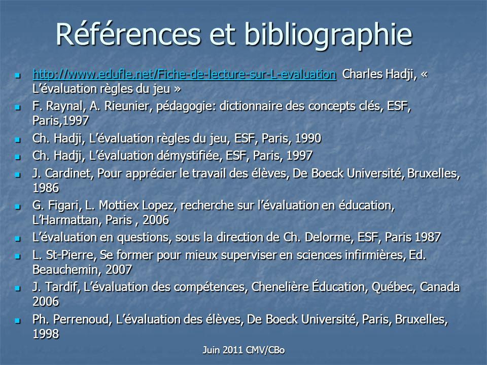 Juin 2011 CMV/CBo Références et bibliographie http://www.edufle.net/Fiche-de-lecture-sur-L-evaluation Charles Hadji, « Lévaluation règles du jeu » htt