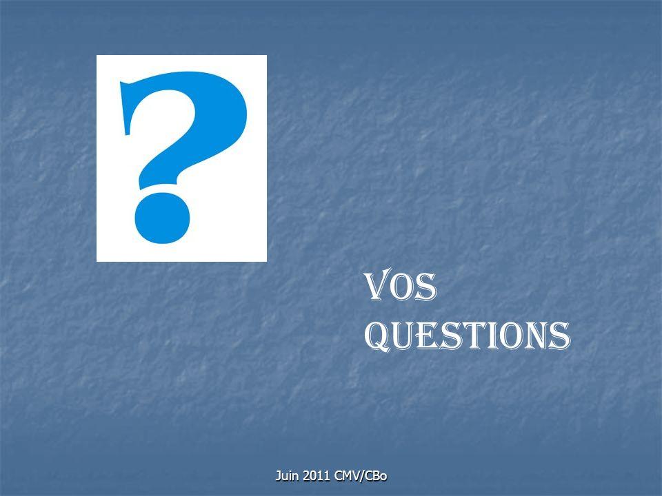 Juin 2011 CMV/CBo Vos questions