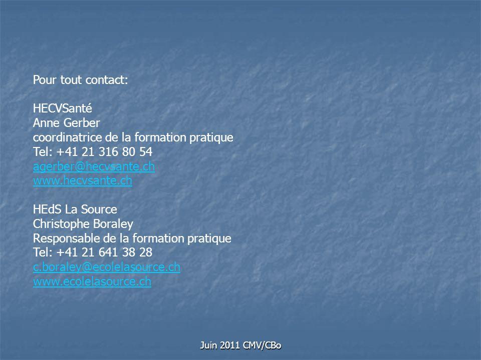 Juin 2011 CMV/CBo Pour tout contact: HECVSanté Anne Gerber coordinatrice de la formation pratique Tel: +41 21 316 80 54 agerber@hecvsante.ch www.hecvs