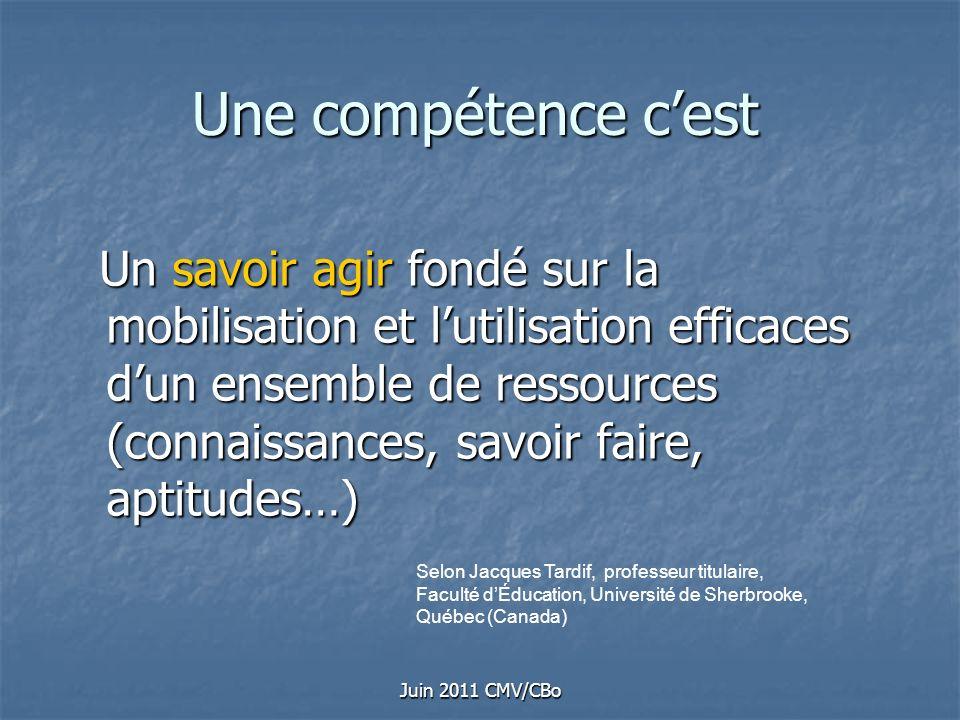 Juin 2011 CMV/CBo Une compétence cest Un savoir agir fondé sur la mobilisation et lutilisation efficaces dun ensemble de ressources (connaissances, sa