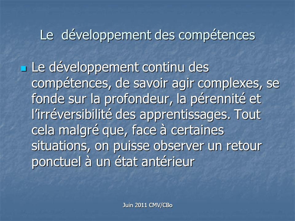 Juin 2011 CMV/CBo Le développement des compétences Le développement continu des compétences, de savoir agir complexes, se fonde sur la profondeur, la