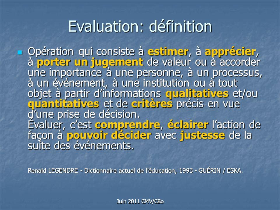 Juin 2011 CMV/CBo Evaluation: définition Opération qui consiste à estimer, à apprécier, à porter un jugement de valeur ou à accorder une importance à