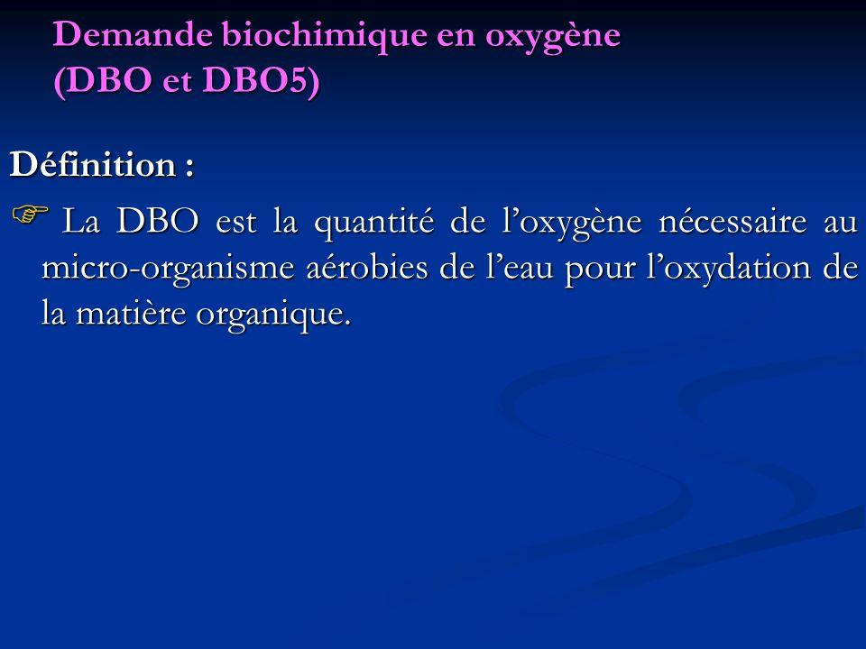 Demande biochimique en oxygène (DBO et DBO5) Définition : La DBO est la quantité de loxygène nécessaire au micro-organisme aérobies de leau pour loxyd