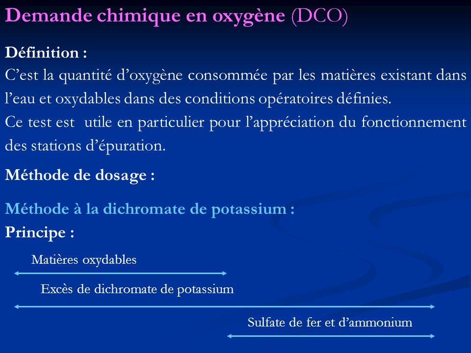 Définition : Cest la quantité doxygène consommée par les matières existant dans leau et oxydables dans des conditions opératoires définies. Ce test es