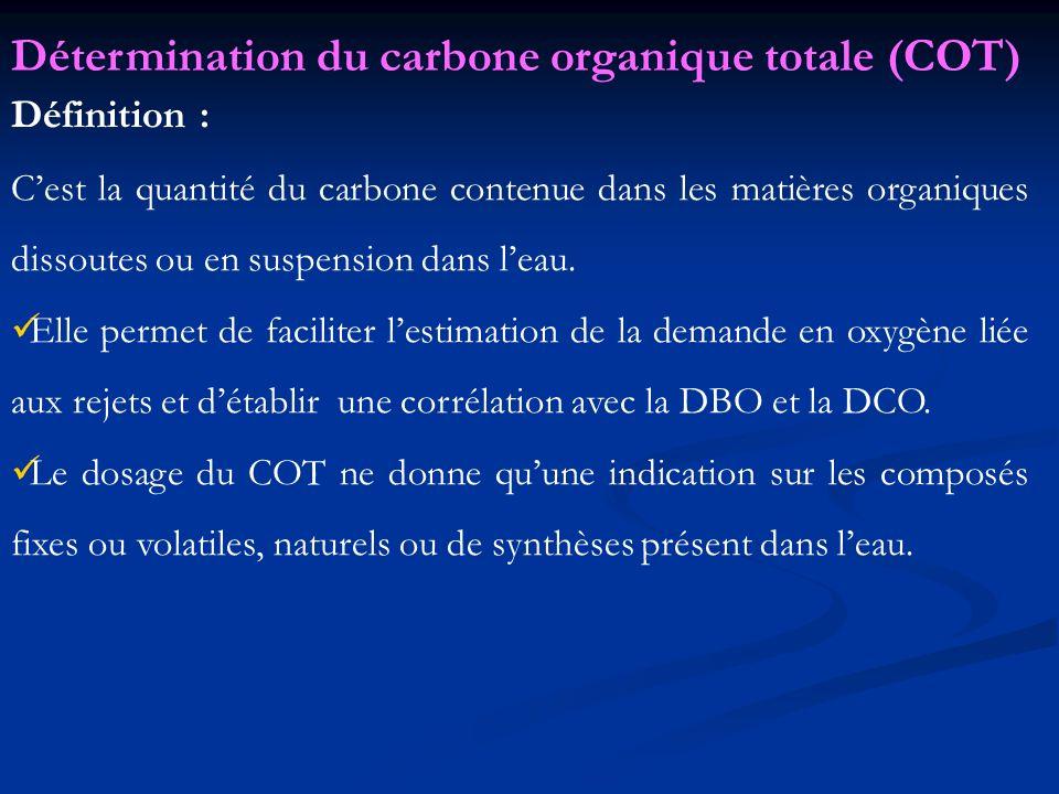 Définition : Cest la quantité du carbone contenue dans les matières organiques dissoutes ou en suspension dans leau. Elle permet de faciliter lestimat