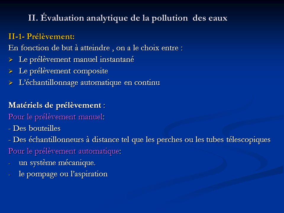 II. Évaluation analytique de la pollution des eaux II-1- Prélèvement: En fonction de but à atteindre, on a le choix entre : Le prélèvement manuel inst