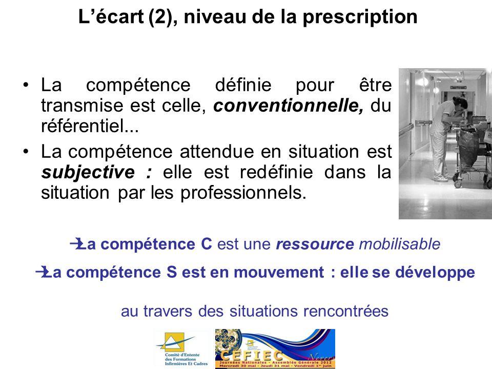 Lécart (2), niveau de la prescription La compétence définie pour être transmise est celle, conventionnelle, du référentiel... La compétence attendue e