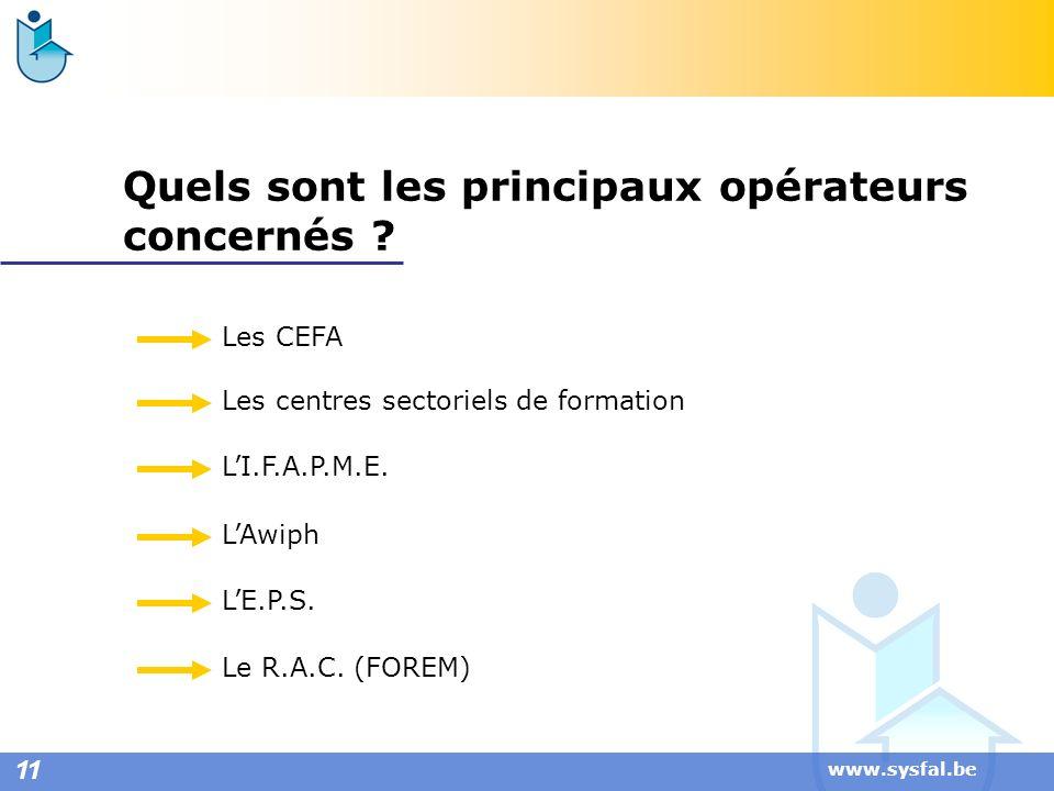 www.sysfal.be Quels sont les principaux opérateurs concernés ? Les CEFA Les centres sectoriels de formation LI.F.A.P.M.E. LAwiph LE.P.S. Le R.A.C. (FO