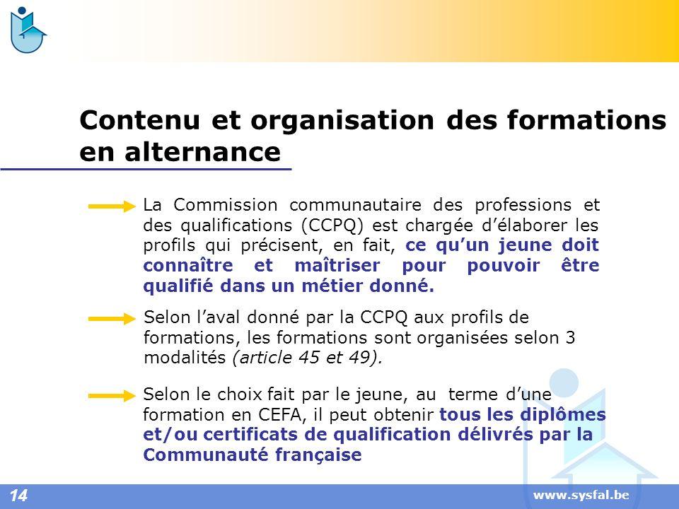 www.sysfal.be Contenu et organisation des formations en alternance La Commission communautaire des professions et des qualifications (CCPQ) est chargé