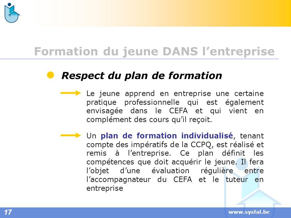 www.sysfal.be Respect du plan de formation Le jeune apprend en entreprise une certaine pratique professionnelle qui est également envisagée dans le CE