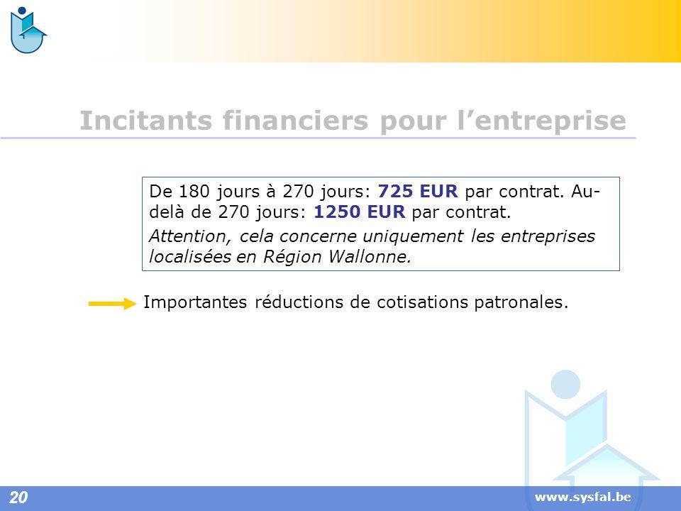 www.sysfal.be De 180 jours à 270 jours: 725 EUR par contrat. Au- delà de 270 jours: 1250 EUR par contrat. Attention, cela concerne uniquement les entr