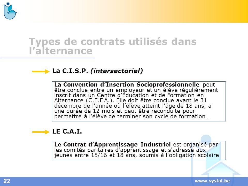 www.sysfal.be Types de contrats utilisés dans lalternance La Convention dInsertion Socioprofessionnelle peut être conclue entre un employeur et un élè