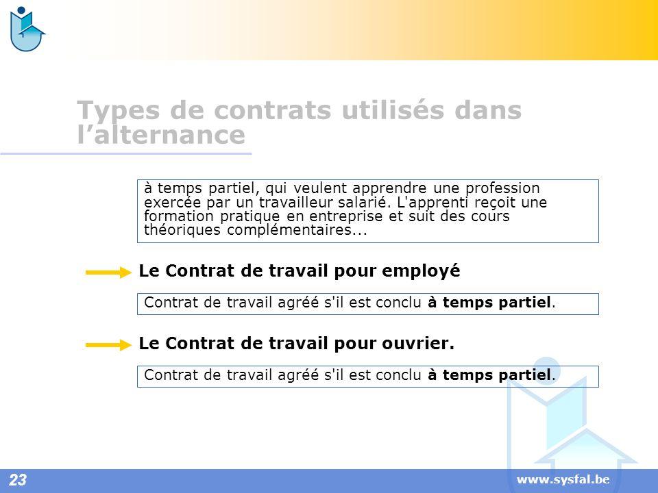 www.sysfal.be Contrat de travail agréé s'il est conclu à temps partiel. Le Contrat de travail pour employé Le Contrat de travail pour ouvrier. à temps