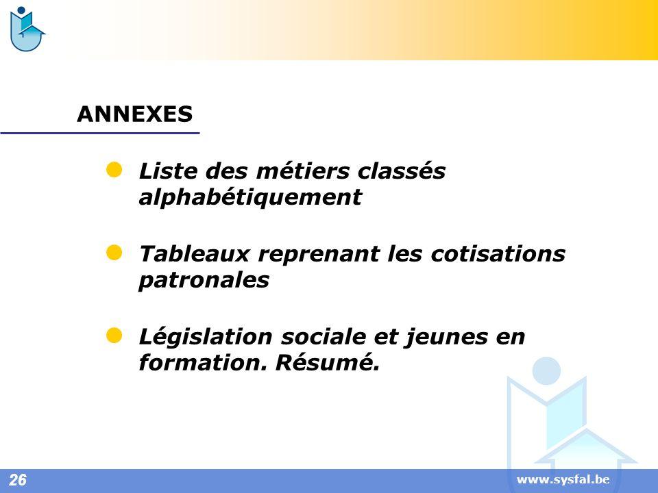 www.sysfal.be ANNEXES Liste des métiers classés alphabétiquement 26 Tableaux reprenant les cotisations patronales Législation sociale et jeunes en for