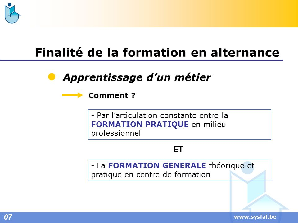 www.sysfal.be Finalité de la formation en alternance Apprentissage dun métier Comment ? - Par larticulation constante entre la FORMATION PRATIQUE en m