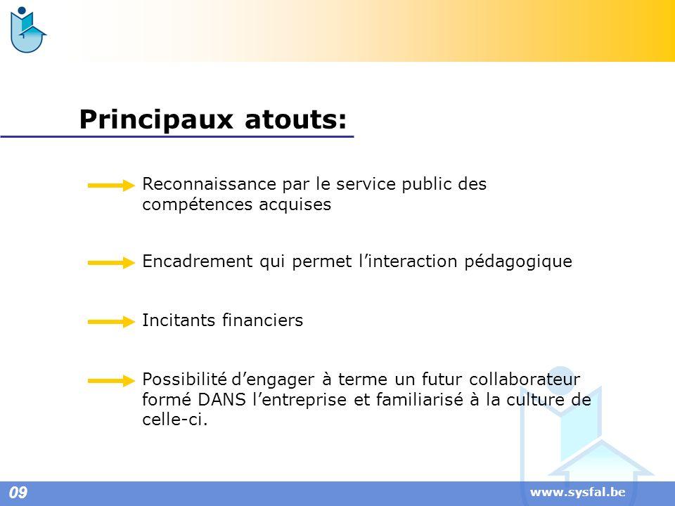 www.sysfal.be Principaux atouts: Reconnaissance par le service public des compétences acquises Encadrement qui permet linteraction pédagogique Incitan