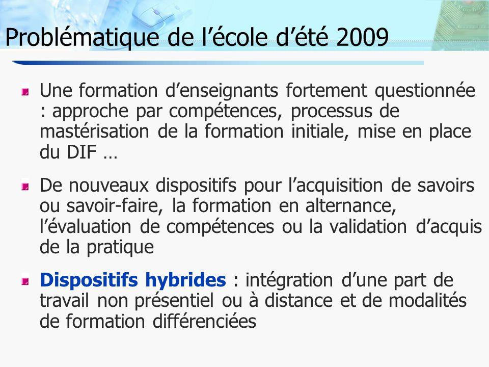 3 Problématique de lécole dété 2009 La question centrale de laccompagnement dans ces dispositifs hybrides comment soutenir lactivité des apprenants tout en préservant leur autonomie .