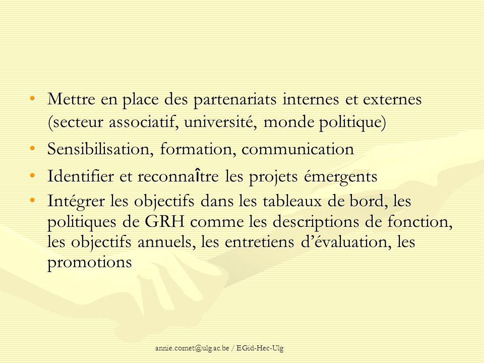annie.cornet@ulg.ac.be / EGid-Hec-Ulg Mettre en place des partenariats internes et externes (secteur associatif, université, monde politique)Mettre en