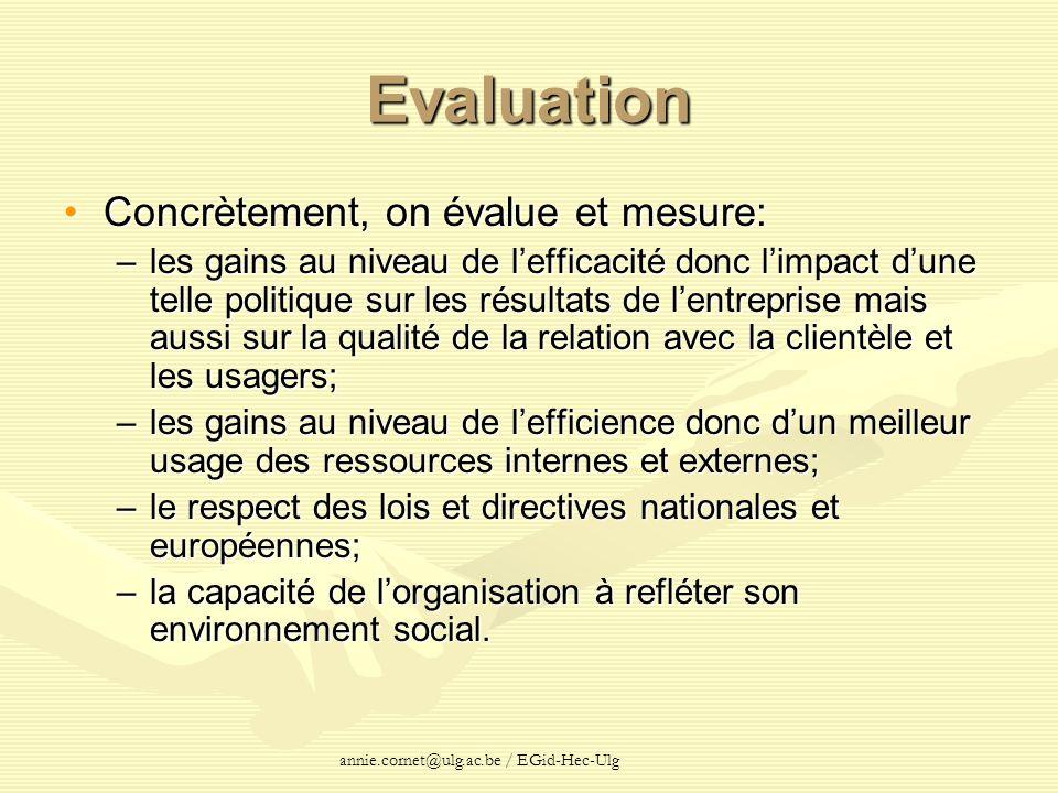 annie.cornet@ulg.ac.be / EGid-Hec-Ulg Evaluation Concrètement, on évalue et mesure:Concrètement, on évalue et mesure: –les gains au niveau de lefficac