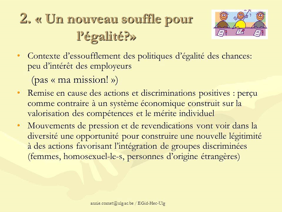 annie.cornet@ulg.ac.be / EGid-Hec-Ulg 2. « Un nouveau souffle pour légalité?» Contexte dessoufflement des politiques dégalité des chances: peu dintérê