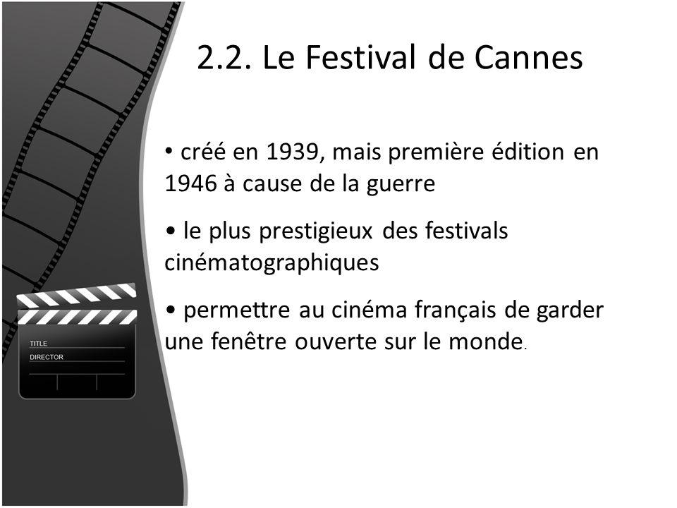 2.2. Le Festival de Cannes créé en 1939, mais première édition en 1946 à cause de la guerre le plus prestigieux des festivals cinématographiques perme