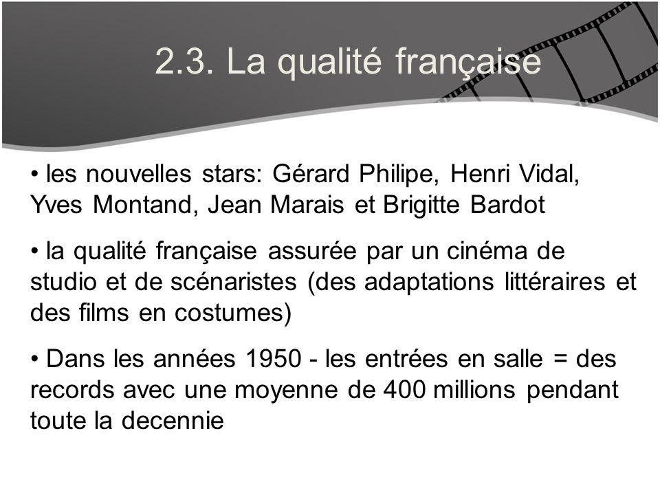 2.3. La qualité française les nouvelles stars: Gérard Philipe, Henri Vidal, Yves Montand, Jean Marais et Brigitte Bardot la qualité française assurée
