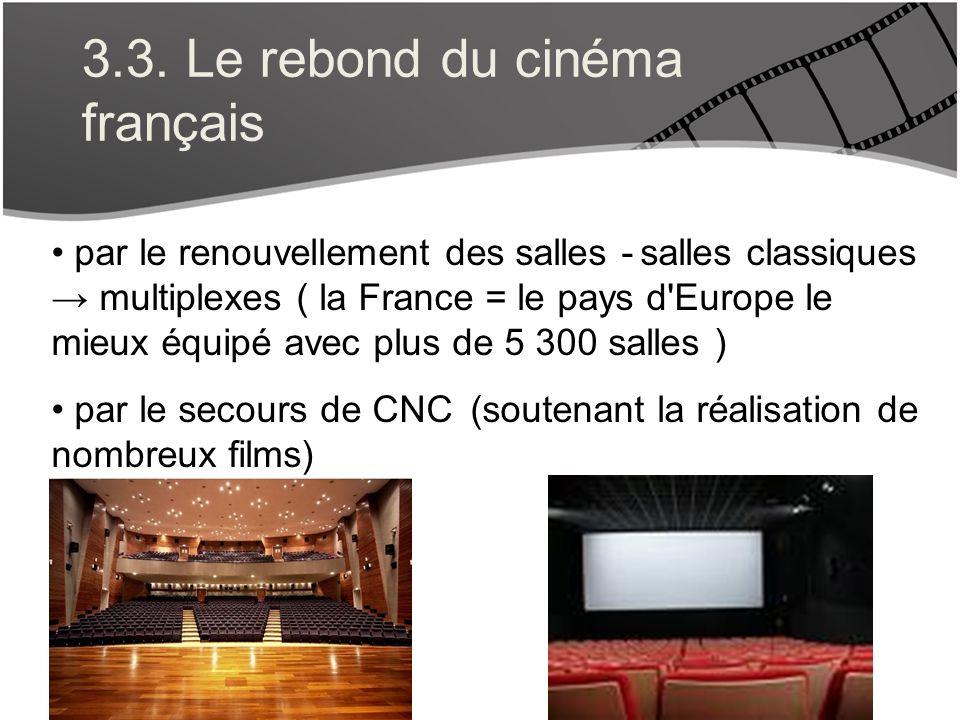 3.3. Le rebond du cinéma français par le renouvellement des salles - salles classiques multiplexes ( la France = le pays d'Europe le mieux équipé avec
