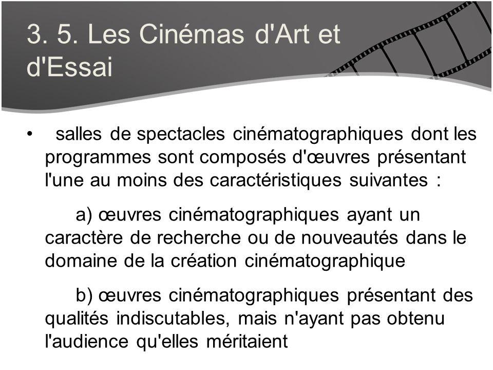 3. 5. Les Cinémas d'Art et d'Essai salles de spectacles cinématographiques dont les programmes sont composés d'œuvres présentant l'une au moins des ca