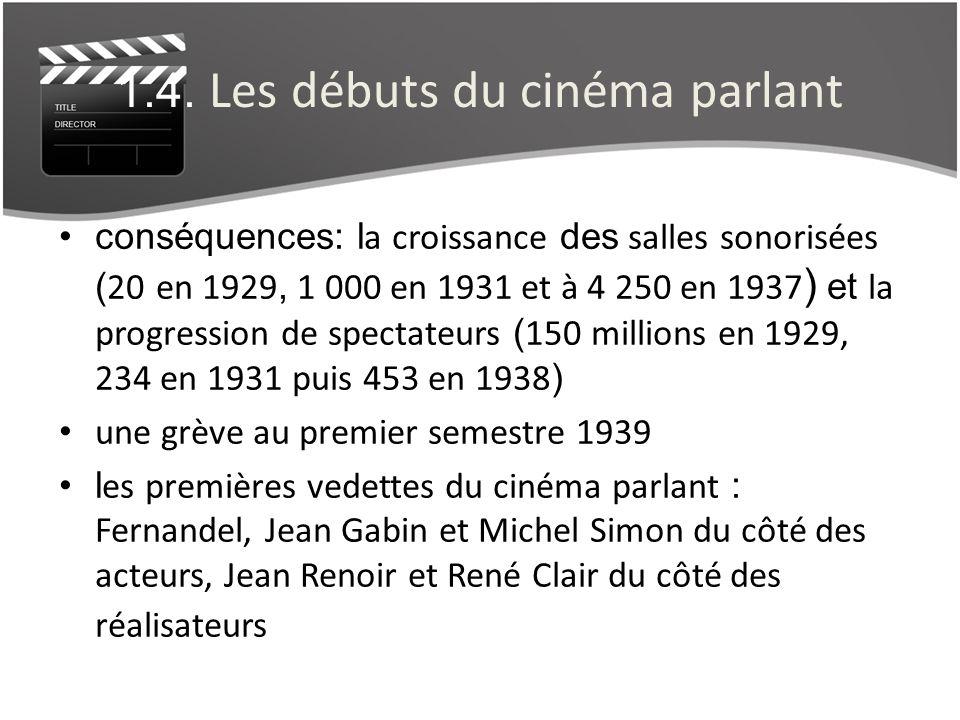 1.4. Les débuts du cinéma parlant conséquences: l a croissance des salles sonorisées ( 20 en 1929, 1 000 en 1931 et à 4 250 en 1937 ) et la progressio