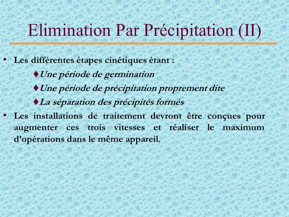 Elimination Par Précipitation (I) Les sels de calcium comme Ca(OH) 2 ; CaCl 2 et CaSO 4 sont les plus utilisés pour précipiter les ions fluorures sous