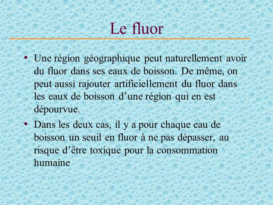 Le fluor Une région géographique peut naturellement avoir du fluor dans ses eaux de boisson.