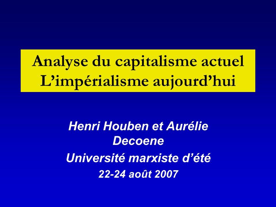 Analyse du capitalisme actuel Limpérialisme aujourdhui Henri Houben et Aurélie Decoene Université marxiste dété 22-24 août 2007