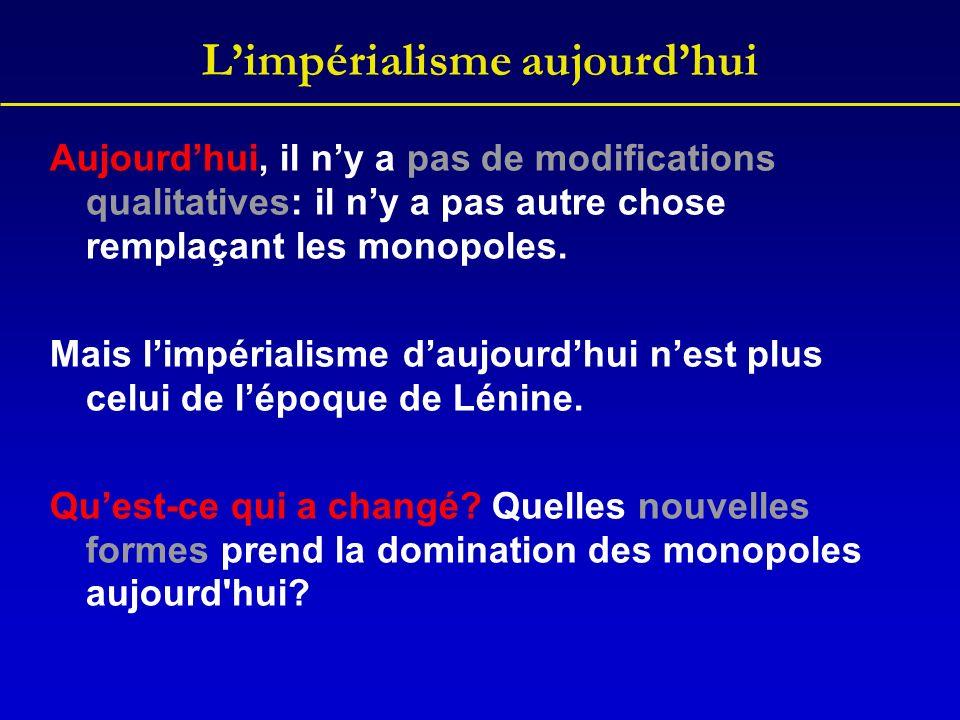 Limpérialisme aujourdhui Aujourdhui, il ny a pas de modifications qualitatives: il ny a pas autre chose remplaçant les monopoles. Mais limpérialisme d