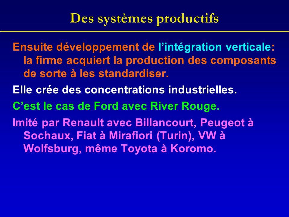 Des systèmes productifs Ensuite développement de lintégration verticale: la firme acquiert la production des composants de sorte à les standardiser. E