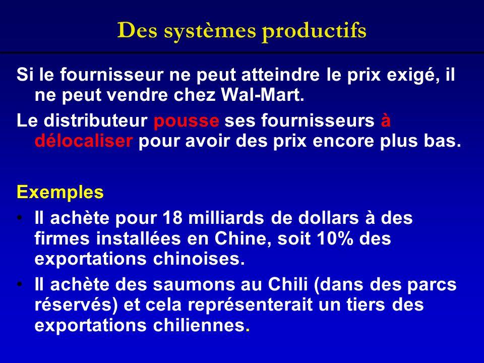 Des systèmes productifs Si le fournisseur ne peut atteindre le prix exigé, il ne peut vendre chez Wal-Mart. Le distributeur pousse ses fournisseurs à