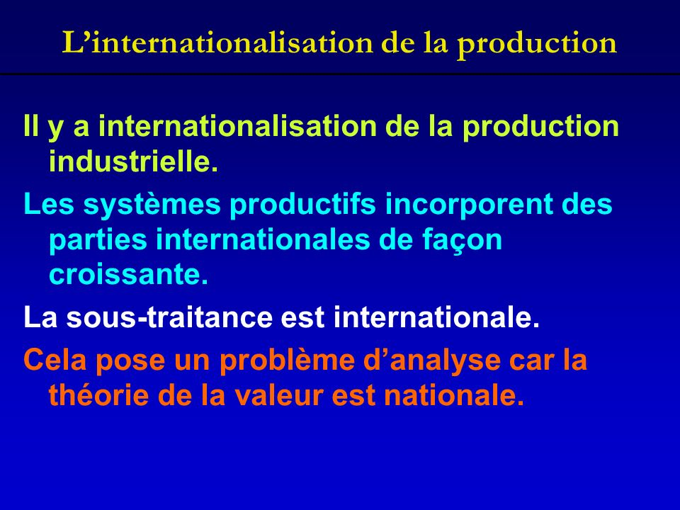 Linternationalisation de la production Il y a internationalisation de la production industrielle.