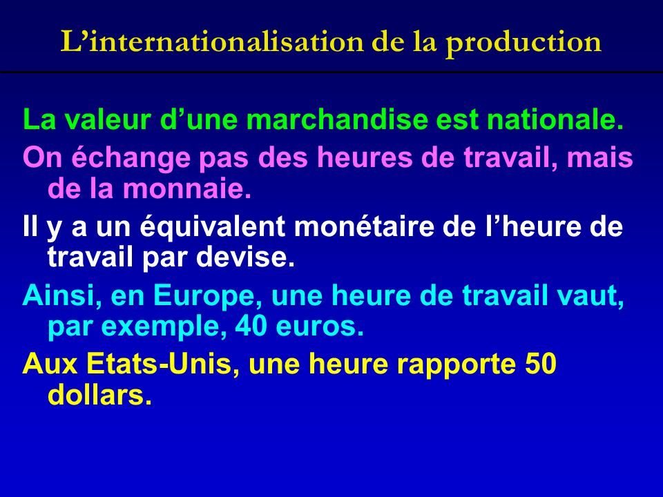 Linternationalisation de la production La valeur dune marchandise est nationale.