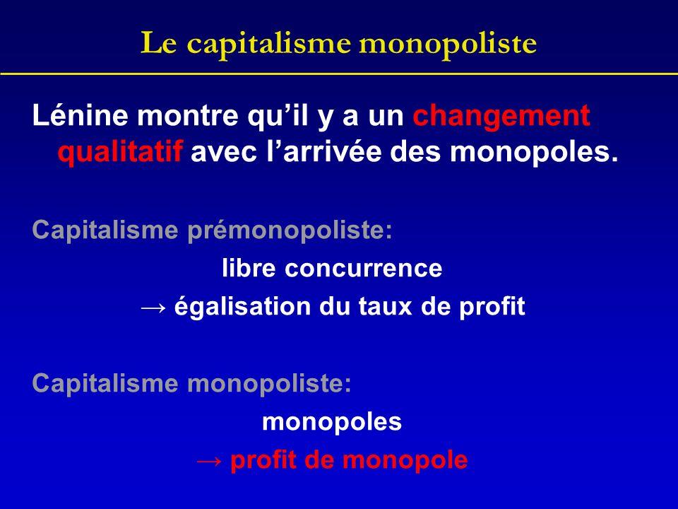 Le capitalisme monopoliste Lénine montre quil y a un changement qualitatif avec larrivée des monopoles. Capitalisme prémonopoliste: libre concurrence