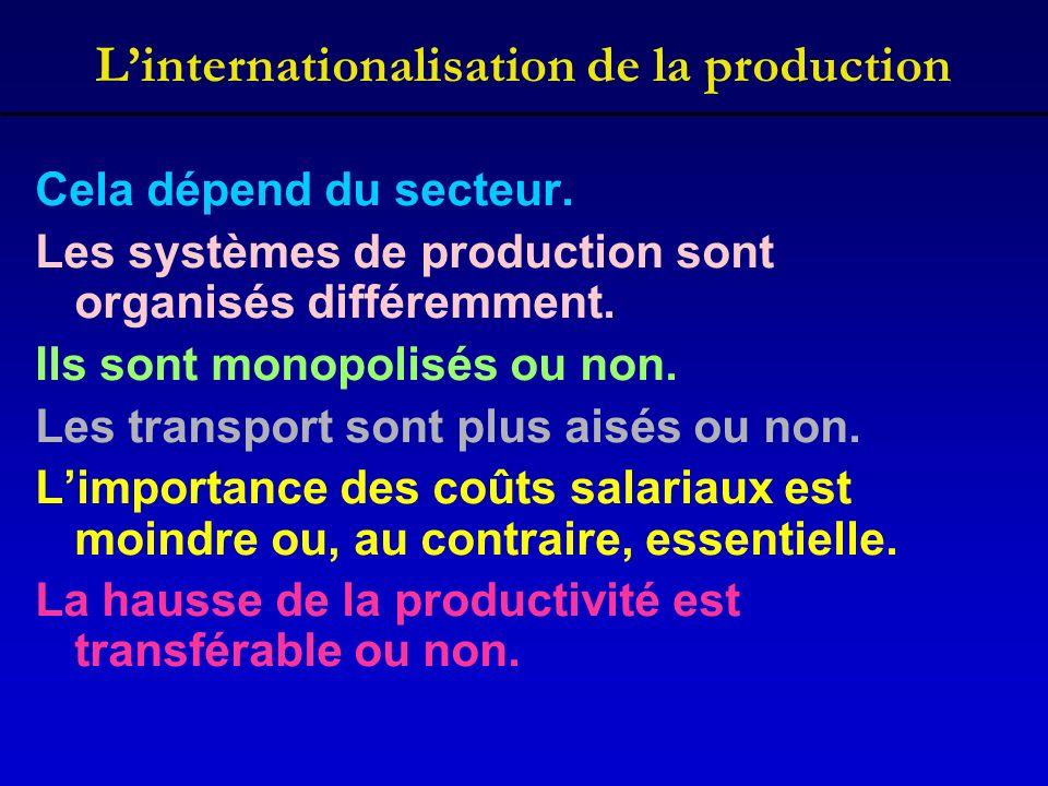 Linternationalisation de la production Cela dépend du secteur. Les systèmes de production sont organisés différemment. Ils sont monopolisés ou non. Le