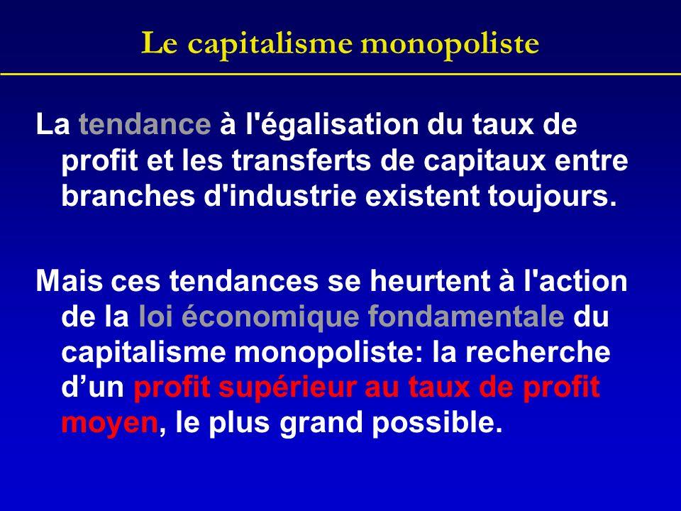 Le capitalisme monopoliste La tendance à l'égalisation du taux de profit et les transferts de capitaux entre branches d'industrie existent toujours. M