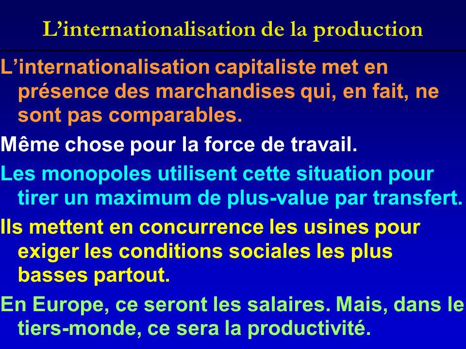 Linternationalisation de la production Linternationalisation capitaliste met en présence des marchandises qui, en fait, ne sont pas comparables. Même