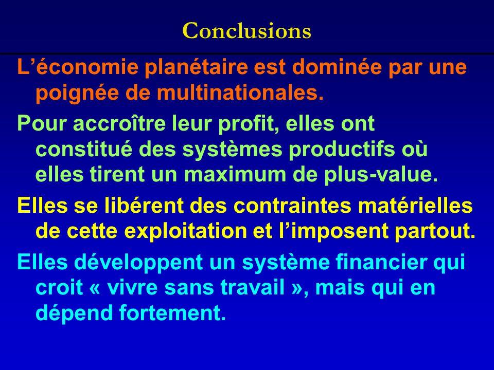 Conclusions Léconomie planétaire est dominée par une poignée de multinationales. Pour accroître leur profit, elles ont constitué des systèmes producti
