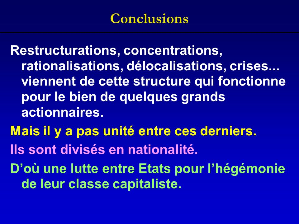 Conclusions Restructurations, concentrations, rationalisations, délocalisations, crises...