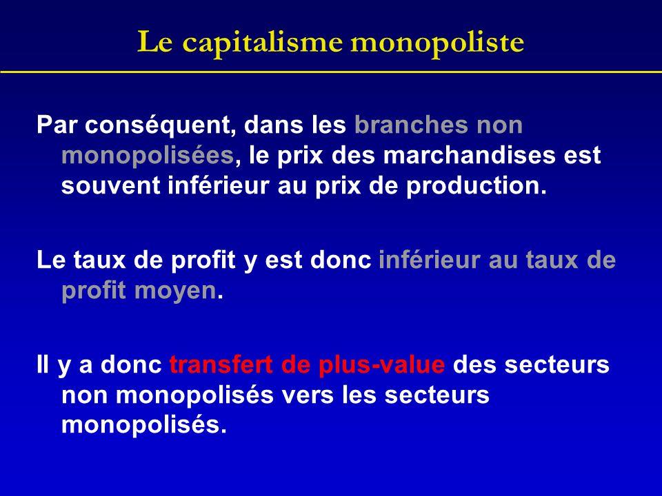 Le capitalisme monopoliste Par conséquent, dans les branches non monopolisées, le prix des marchandises est souvent inférieur au prix de production. L