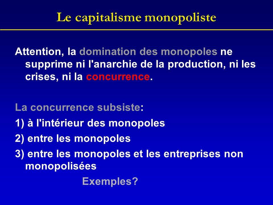 Le capitalisme monopoliste Ainsi, la domination des monopoles accentue à l extrême toutes les contradictions du capitalisme et l exploitation de la classe ouvrière.
