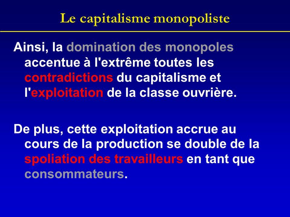 Le capitalisme monopoliste Ainsi, la domination des monopoles accentue à l'extrême toutes les contradictions du capitalisme et l'exploitation de la cl