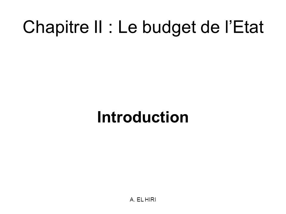 A. EL HIRI Chapitre II : Le budget de lEtat Introduction
