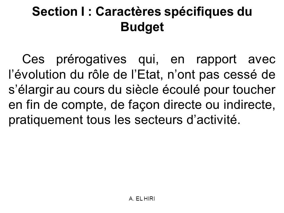 A. EL HIRI Section I : Caractères spécifiques du Budget Ces prérogatives qui, en rapport avec lévolution du rôle de lEtat, nont pas cessé de sélargir