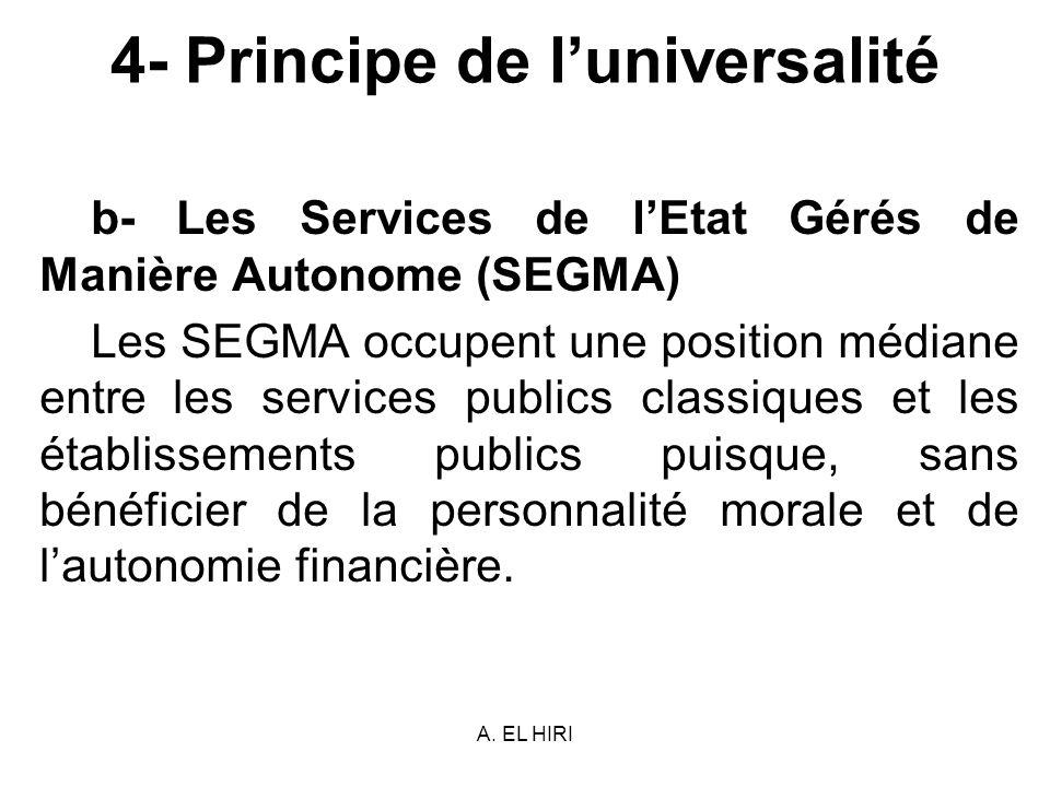 A. EL HIRI 4- Principe de luniversalité b- Les Services de lEtat Gérés de Manière Autonome (SEGMA) Les SEGMA occupent une position médiane entre les s